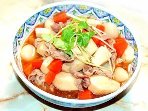 里芋大量消費メニュー!里芋と豚コマ肉の甘辛風煮物♪