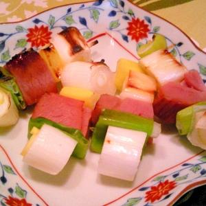 焼き豚と葱の串焼き