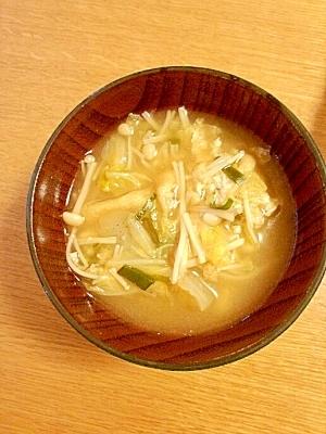 白菜とえのきとネギの味噌汁☆