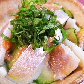 小鯛と梅キュウリの酢の物