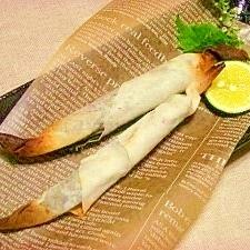 減塩☆シシャモの揚げないスティック春巻き