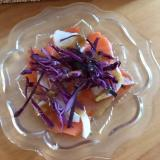 新たまねぎと紫キャベツ、スモークサーモンサラダ