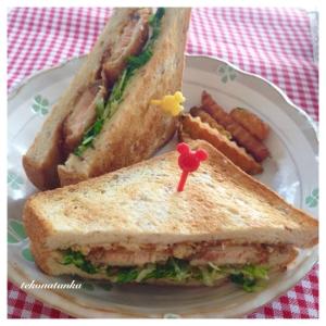 ライ麦パンと水菜で♪鮭フライサンド