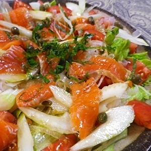セロリトマト鮭のポン酢サラダ