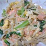 小松菜と鮭の玉子炒め