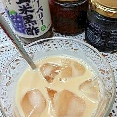 アイス☆ダブルベリー黒酢きなこミルク♪