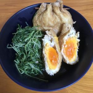 簡単☆めんつゆレシピ☆水菜と油揚げの巾着煮