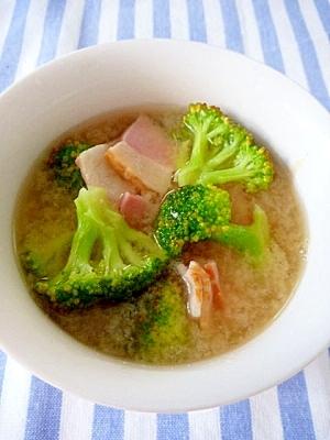 ベーコンとブロッコリーの★洋風味噌バタースープ