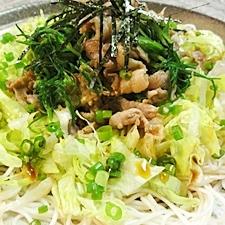 豚肉とおかひじきのレタス素麺