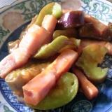 茄子とベーコンとチーズのケチャップ炒め