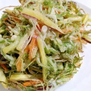 サクサクの仕上がり☆さつまいもと水菜のかき揚げ