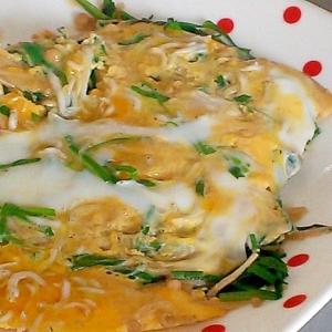 ニラ、えのき、しらすの簡単卵とじ&丼