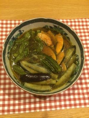茄子とシシトウとカボチャとオクラの煮浸し
