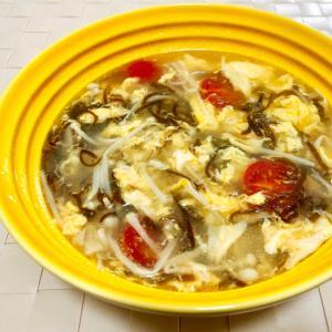 腸活!えのきともずくの中華風燃焼スープ