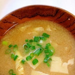 冷凍木綿豆腐と卵の味噌汁