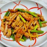 筍とにんにくの芽の豚中華炒め