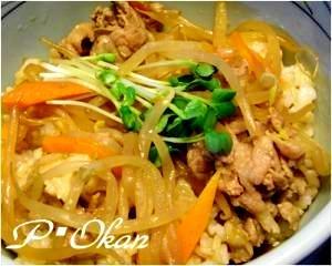 豚肉とモヤシの生姜焼き丼