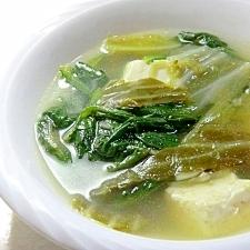 鍋風だけどごま油香る、春菊と豆腐の塩スープ