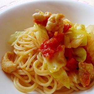 フライパン一つで簡単*鶏皮ときゃべつのトマトパスタ
