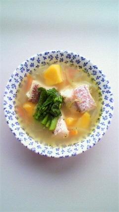 鯛とインカのめざめの洋風スープ