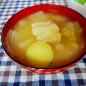 白菜ネギさつま芋の酒粕入り味噌汁