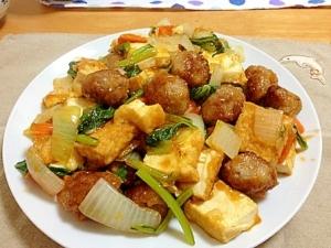 肉団子と厚揚げの甘酢炒め