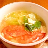 チンゲン菜とトマトの中華スープ