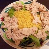 豚しゃぶラーメンサラダ-簡単・男の料理