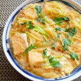 節約簡単!麺つゆで絹厚揚げの卵とじ
