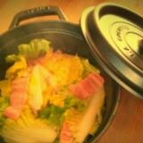 staub鍋で白菜とオイルサーディンの蒸し煮