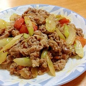 セロリと豚こまとトマトのさっぱり中華炒め
