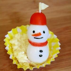 クリスマスキャラ弁!うずらでスノーマン☆