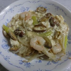 豆腐とあさりと海老の炒め物
