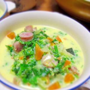菜の花の豆乳スープ