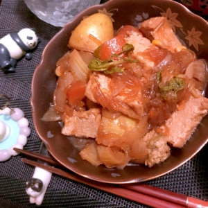 ラーメン汁リメイクde肉なし⁈じゃが!旨煮。