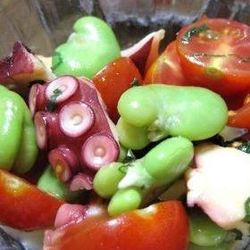 そら豆&たこ&トマトのマリネ