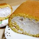 オーブンの角皿で作る★桃缶&バナナのロールケーキ