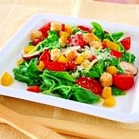 ささげ菜と加子母トマトのシーザーサラダ風