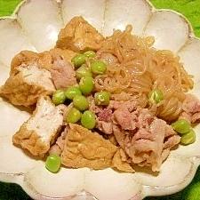 春☆厚揚げと豚肉の煮物