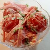 プチトマトと大葉とハムの大蒜マヨビネガーサラダ♪