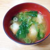 小松菜と麩とねぎの味噌汁