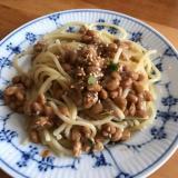 セロリとツナ、納豆のガーリックパスタ