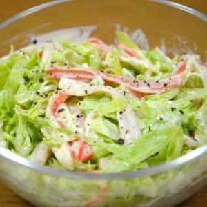 【簡単おつまみ】 カニカマとレタスのサラダ