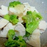鶏ハムレシピ♪鶏ハムとブロッコリーにジュレ和え