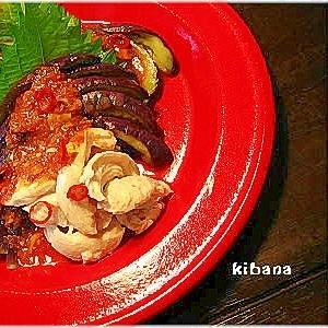 蒸し茄子の韓国風