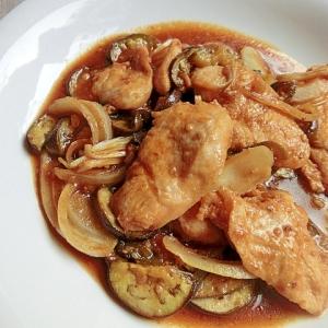 簡単!鶏むね肉となすの焼き肉のたれ炒め