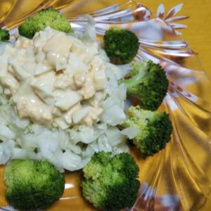 キャベツとブロッコリーと茹で卵の温野菜サラダ☆