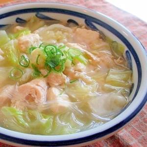 豆腐とささみの春雨スープ