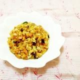 茄子とソーセージのターメリック炒飯