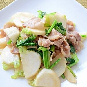 カブと豚バラの生姜醤油炒め